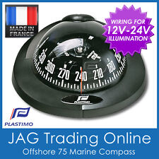 PLASTIMO FLUSH MOUNT OFFSHORE 75 BLACK MARINE/BOAT COMPASS 12V-24V Lighting