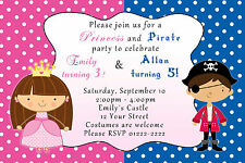 30 Birthday Party Invitation Pirate Princess Costume SIblings Twins Blue Pink A1
