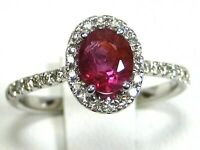 Ruby Ring 14K white gold Pave Halo Madagascar Natural Heirloom GIA App $2,998