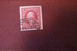 Scott 344- 1909 2c Washington Imperf. Cancelled Stamp