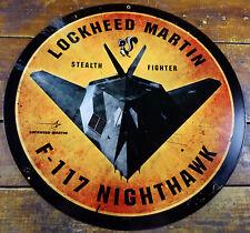 "Lockheed Martin Stealth Fighter F-117 Nighthawk Skunk Logo 14"" Metal Adv Sign"