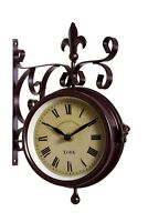 Outdoor Garden wall Station Clock & Temperature with Bracket, swivels 25cm