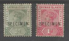 CAYMAN ISLANDS SG1s&2s THE 1900 VICTORIAN PAIR OVERPRINTED SPECIMEN cat £170