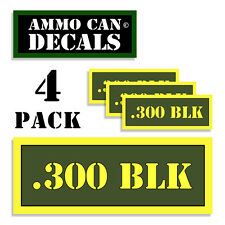 """300 BLK Ammo Can 4x Labels Ammunition Case 3""""x1.15"""" stickers decals 4 pack AG"""