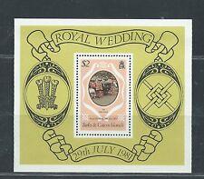 TURKS & CAICOS unused SG MS656 DianeCharles Royal Wedding 1981 S/S MNH