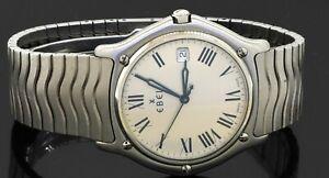 Ebel Wave 9187151 High fashion SS quartz men's watch w/ date & Roman dial