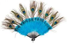 Pfauenfeder Fächer NEU - Zubehör Accessoire Karneval Fasching