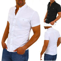 Men's Fashion V-Neck Slim Fit Shirt Short Sleeve Formal Business Shirts Tops New
