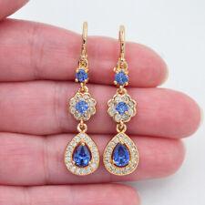 18K Yellow Gold Filled Women Light Blue Topaz Teardrop Engagement Earrings