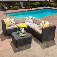 Valona Outdoor Dark Brown Beige Wicker V Shaped Sectional Sofa Set
