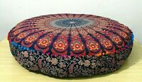 Indian Pouffe Round Throw 35'' Round Pillow Cover Footstool Floor Patchwork