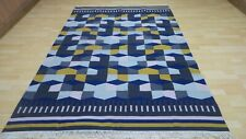 """Turkish CARPET RUG HAND MADE WOOL Contemporary  KILIM 7FT 10"""" X 5FT 7"""""""