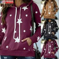 Women Printed Hooded Sweatshirt Ladies Casual Loose Hoodies Tops Jumper Pullover