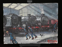 NORTHERN ARTIST JAMES DOWNIE ORIGINAL OIL PAINTING 'TED FROM THE ENGINE SHED'