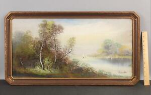 Antique WILLIAM CHANDLER Pastel Mountain Landscape Painting w/ Orig Carved Frame