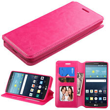 Flip Wallet Leather Case Cover Stand Pouch Book Credit Card for LG Vista 2 H740 Hot Pink