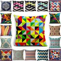 Vintage Geometric Flower Decor Pillow Cotton Cushion Bohemian Cover Linen Case