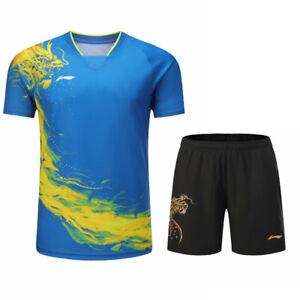 Li-Ning Tops table tennis Clothes Men's T-shirt+shorts Print China Dragon