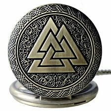 Valknut Viking Pocket Watch Necklace Pendant Symbol of Norse Viking Warriors