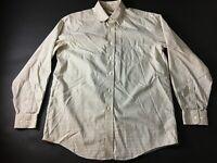 LL Bean Mens White Plaid Front Pocket Button Front Shirt Size XL