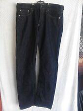 Uni Qlo Ladies Jeans in Dark Blue Denim Straight Slim Fit Size 35in