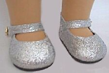 "Silver Glitter Sparkle Shoes for 18"" American Girl Doll Worlds Best Selection"