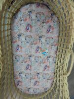 Bassinet Fitted Sheet May Gibbs Classic Pink 100% Cotton FITS STANDARD BASSINET