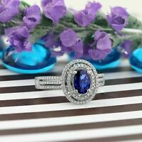 5ct Oval Cut Blue Sapphire Engagement Ring 14k White Gold Over Dual Diamond Halo