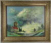 "Vintage Oil Painting on Canvas Windmill Landscape Framed Art Decor (21"" x 25"")"