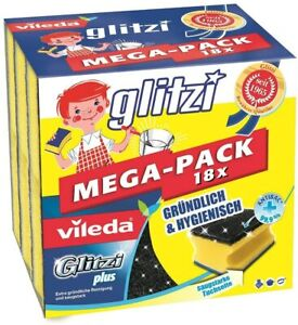 Vileda Sponge Glitzi Plus Antibacterial Absorbent Scourer, Pack of 18
