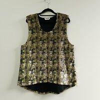 Sass and Bide Vie Women's Playman Tank Sequin Gold Sleeveless Top Size L