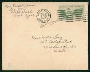 Mayfairstamps Canal Zone 1947 Diablo Hights to Wadsworth Ohio Cover wwp79571