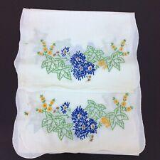 "Lot Two Linen Dresser Table Runner Embroidered Floral Blue Leaf  40"" L x 13"" W"