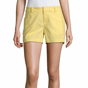 "a.n.a. Women's 3.5"" Twill Chino Shorts Lemon Verbena Size 16 NEW Yellow"