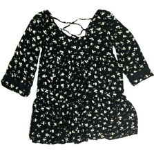 billabong 3/4 sleeve floral dress size small black white criss cross back boho