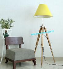 Vintage Nautical Tripod Floor Shade Lamp Natural Teak Wooden Tripod Lamp Stand