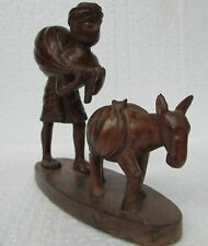 Vintage old Collectible Hand Carved Wood Sculpture Tribal Man Figure Statue,