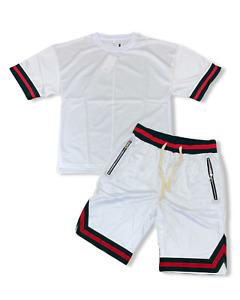 Mens 2PC Sports Zipper Pocket Gym Workout Active Jersey T-Shirt+ Mesh Shorts SET