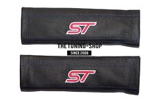 "2 x Seat Belt Shoulder Covers Pads Black Leather ""ST"" Embroidery for Ford"