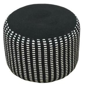 HOMZZ Pouf | Hand Crafted in India | Knitted Cotton Pre Assembled Black & White