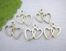 40 pcs argent deux tons coeur charms pendentifs bijoux making 20x23mm
