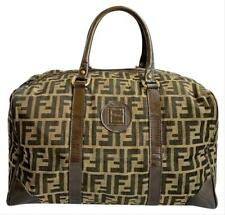 Authentic Fendi Vintage Brown Tobacco Zucca Canvas Leather Medium Duffle Bag