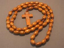 Christian Rosary Oval Wood Beads Silver Imprint Crucifix Necklace LATTE BROWN