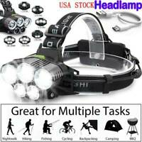 High Power 100000LM T6 LED Headlamp Headlight Torch Rechargeable Flashlight Camp