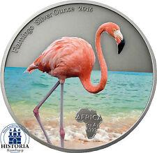 África serie: ghana 5 zaga 2016 Antique Finish Flamingo Silver ounce en color