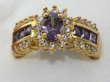 Women Fashion Jewelry Finger Rings Amethyst Sapphire 18KT Yellow Sz 10, ONLY