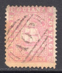 BRITISH GUIANA 1860-63 Ship 1c pale rose p12 U, SG 29 cat £275