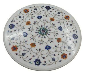 Marble Dining Table Top Handmade Inlay Chalcedony Mop Turquoise Floral Outdoor H