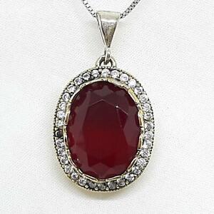 Deco 10.90ctw Ruby & Diamond Cut White Sapphire 14K Yellow Gold 925 Pendant 7.4g