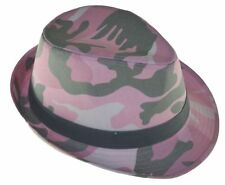 Camouflage Fedora Hat-pink camo-Youth Size Cap-8~20-sm